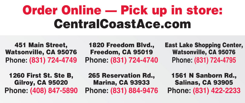 Central Coast Ace Hardware locations, watsonville, freedom, gilroy, marina, salinas