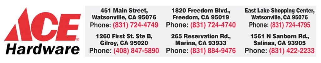 ace hardware central coast locations watsonville freedom seaside gilroy downtown. veterans memorial day flag give away