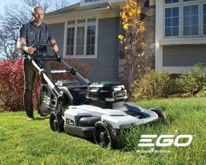 EGO Power Mower cutting a lawn