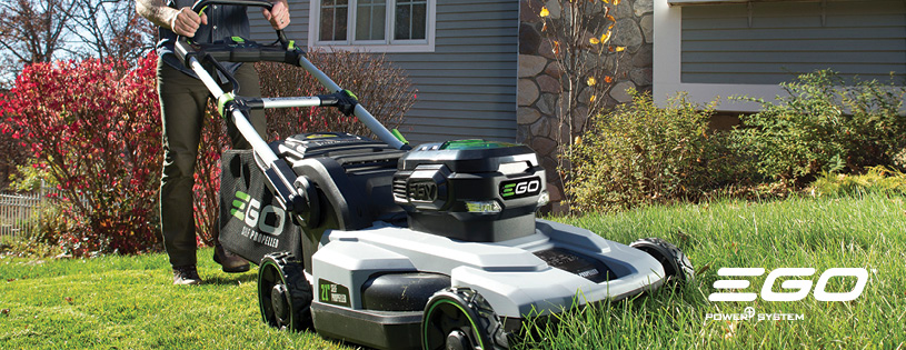 Ego Power mower, self-propelled. On sale at Watsonville California Ace Hardware