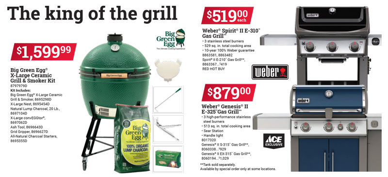 grills on sale, weber big green egg, father's day gifts sales deals, ace hardware gilroy watsonville