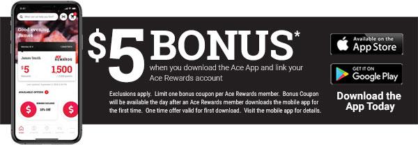 ace rewards app bonus points save on purchases